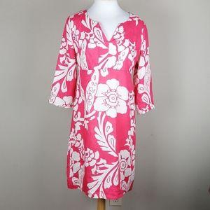 Boden coral floral linen dress